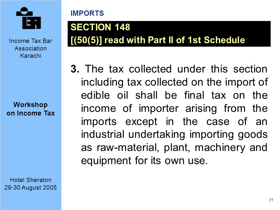 IMPORTS SECTION 148. [(50(5)] read with Part II of 1st Schedule.